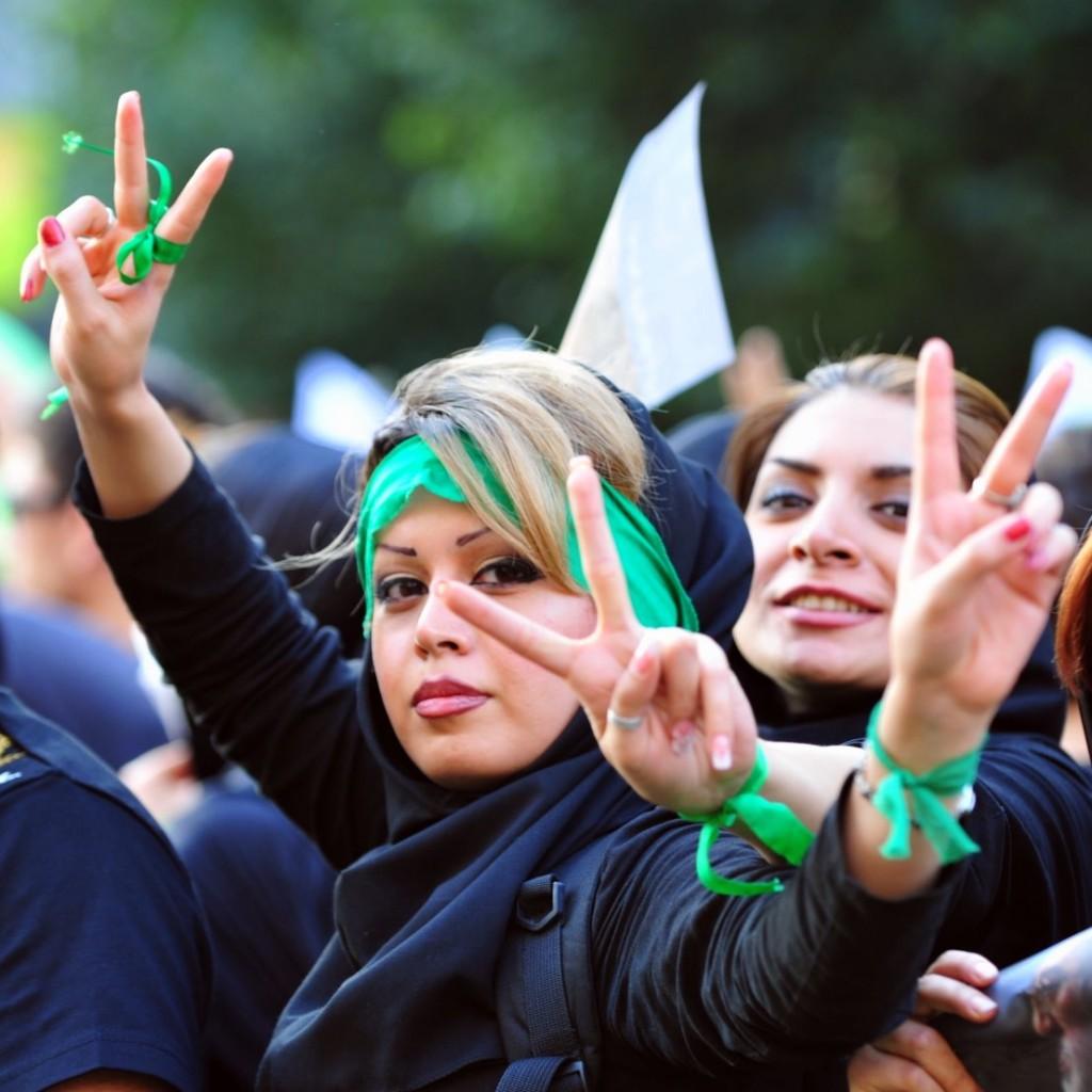 Green Revolution protesters, June 17, 2009. Photo Hamed Saber / Wikimedia