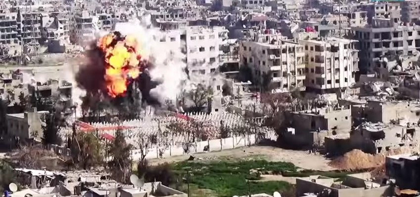 Aftermath of an Islamic State car bomb. Taken from an I.S. promotional video. Photo: War Archives / YouTube