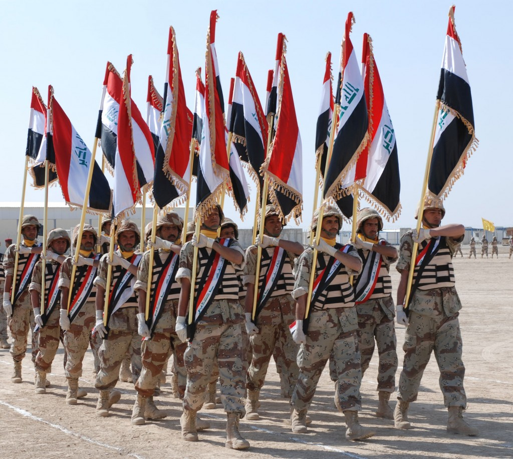 Soldiers from the 3rd Brigade of the 14th Iraqi Army Division graduate from basic training in Besmaya. Photo: Erica R. Gardner / U.S. Navy / Wikimedia
