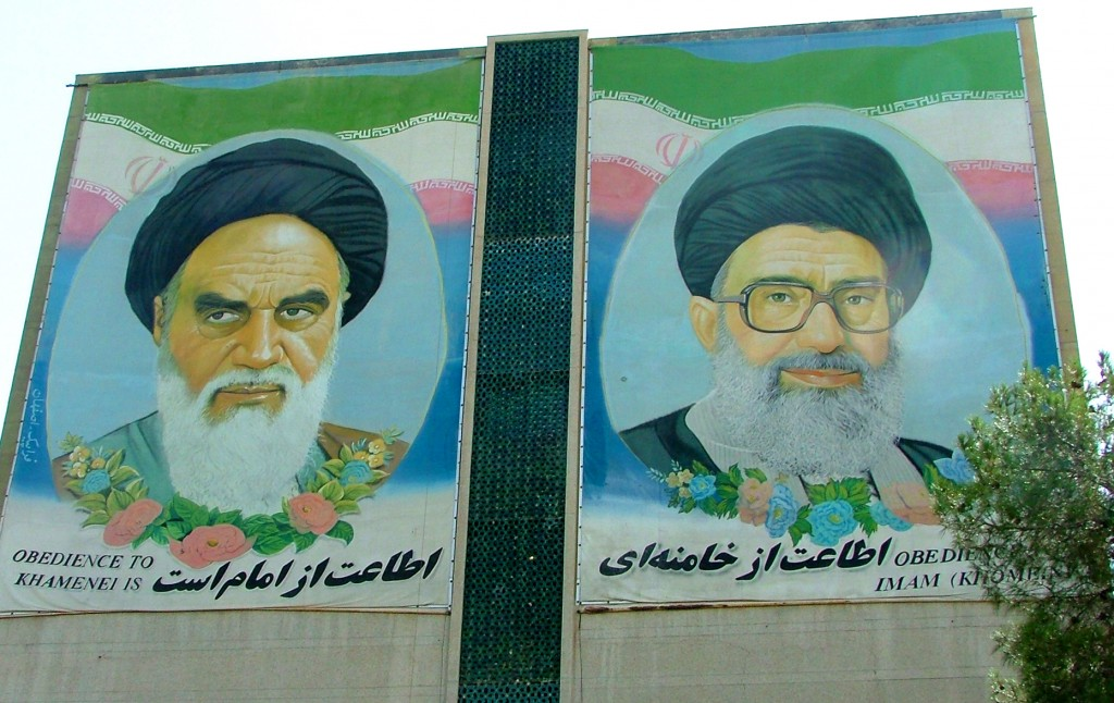 A mural depicting the former and current Supreme Leaders of Iran. Photo: Aino / flickr