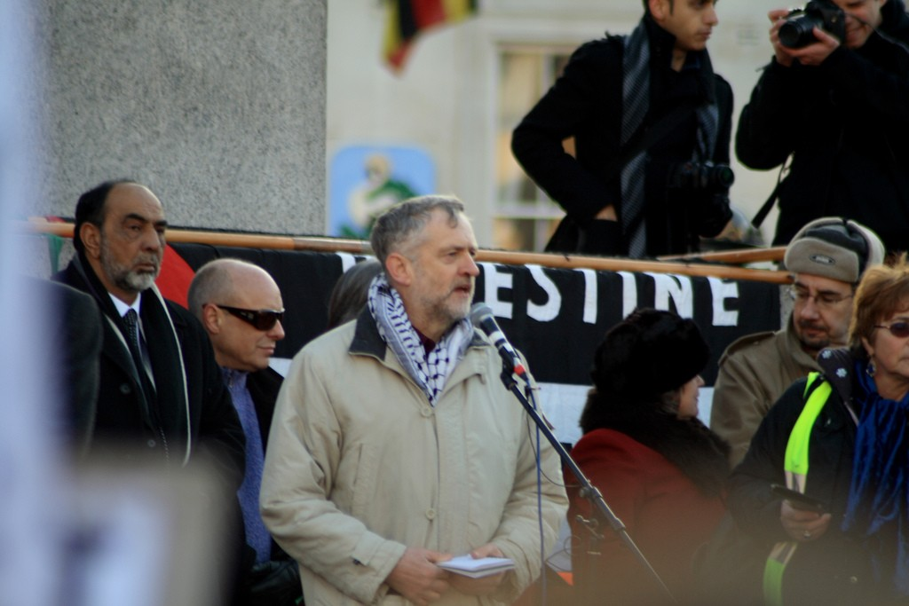 Jeremy Corbyn speaks at a 2009 pro-Palestinian rally in Trafalgar Square. Photo: Davide Simonetti / flickr