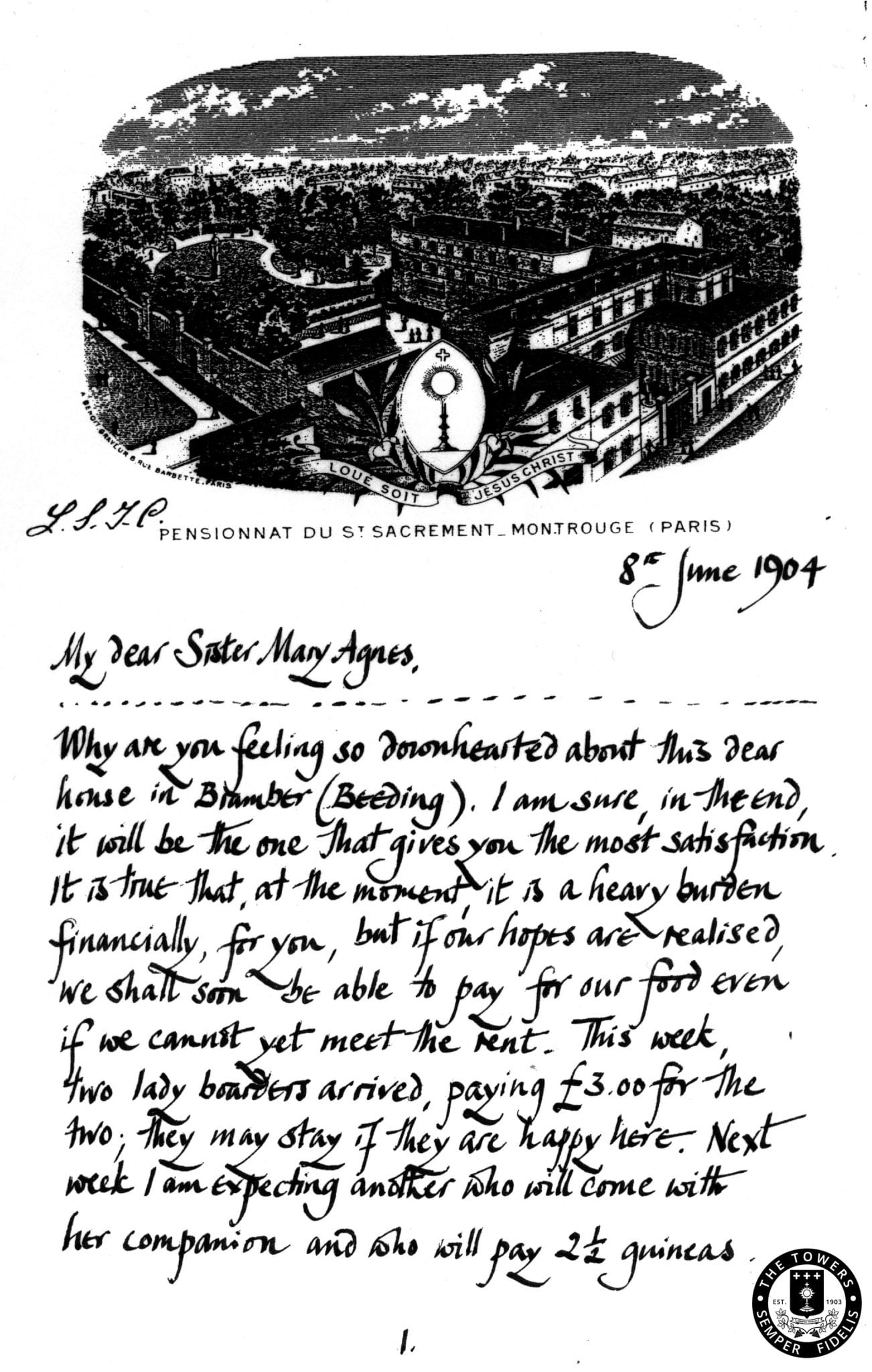Letters written by the Sisters at the beginning of the school.