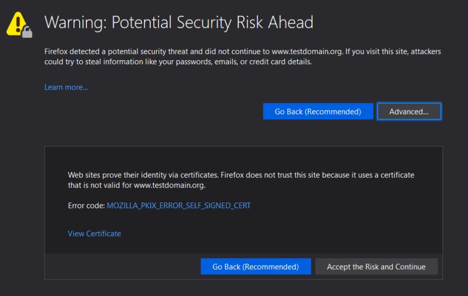 Firefox SSL Certificate Error
