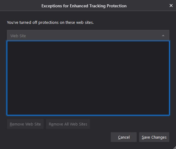 Firefox Enhanced Tracker Protection Exceptions