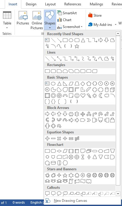 Insert Shapes in Word