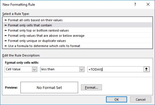 Conditional Format Dates