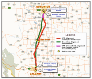 Calgary Edmonton High Speed Rail Map