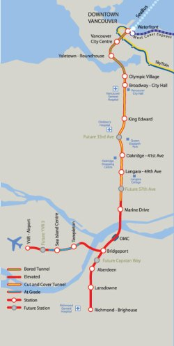 Vancouver Canada Line Map