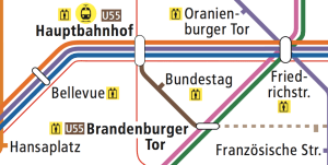 Berlin U55 U-Bahn Map