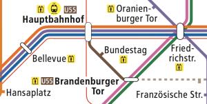 Berlin U55 U-Bahn Map