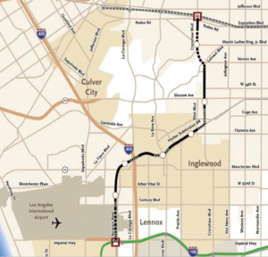 Proposed Crenshaw Corridor Light Rail Alignment Map