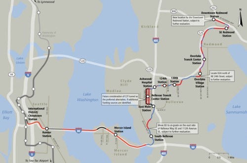 Seattle East Link Alignment Map