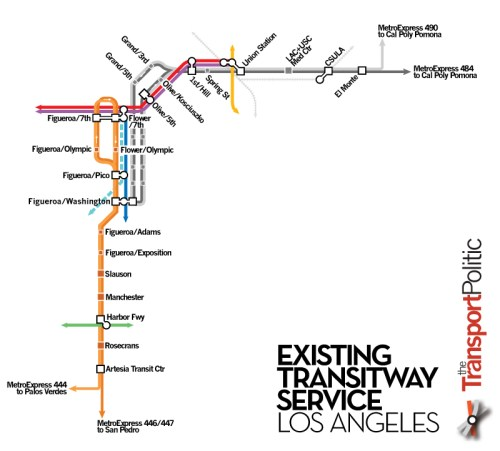 Existing Transitway Service along L.A. Busways