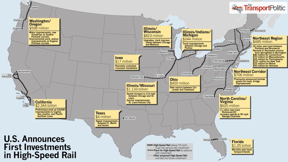 High Speed Rail Grants Announced California Florida And Illinois