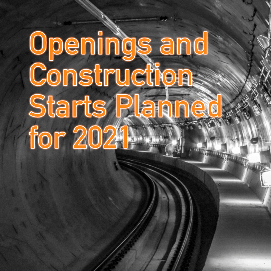 Openings and new construction starts for 2021