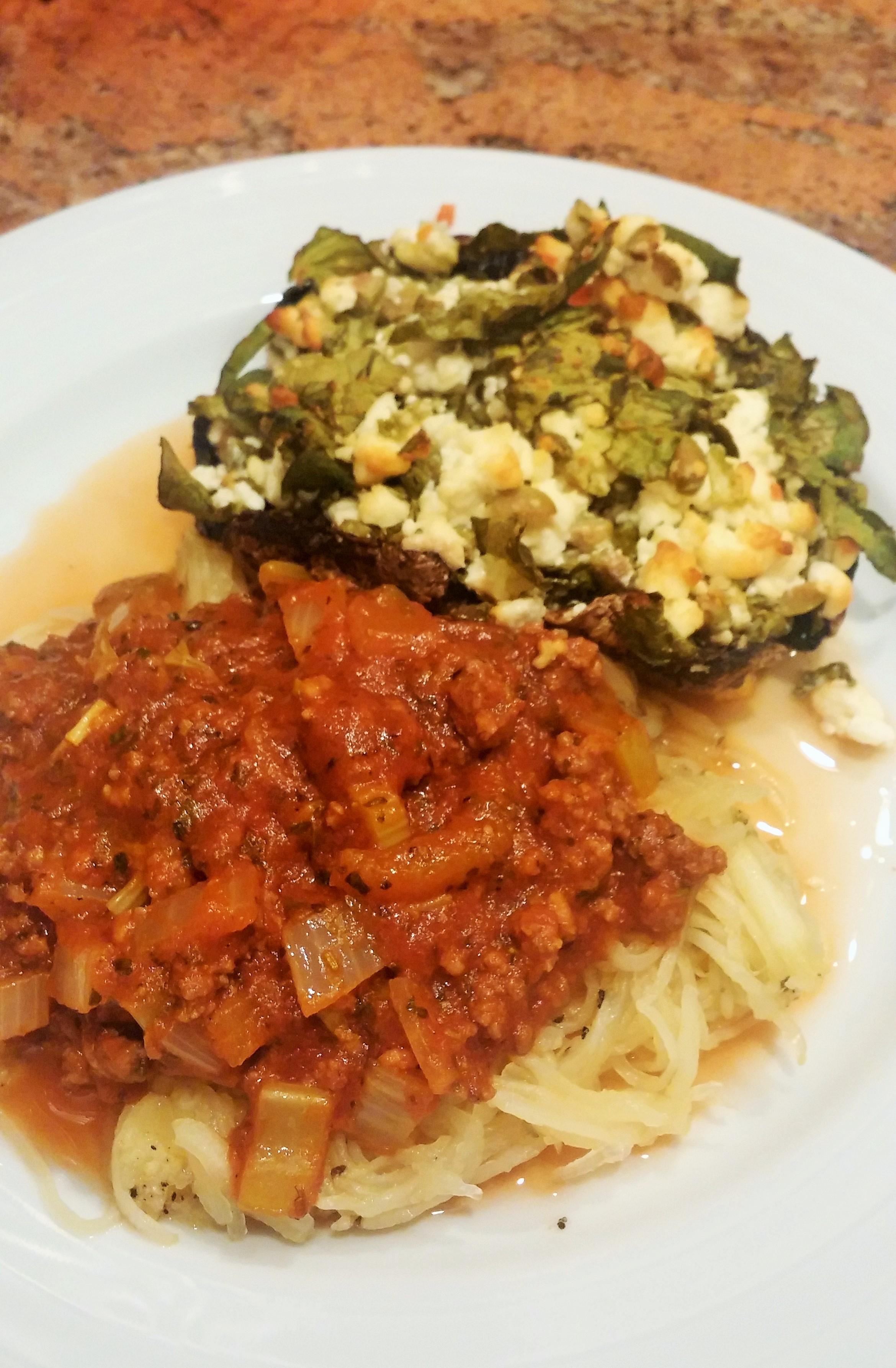 Spaghetti Squash & Hearty Buffalo Meat Sauce