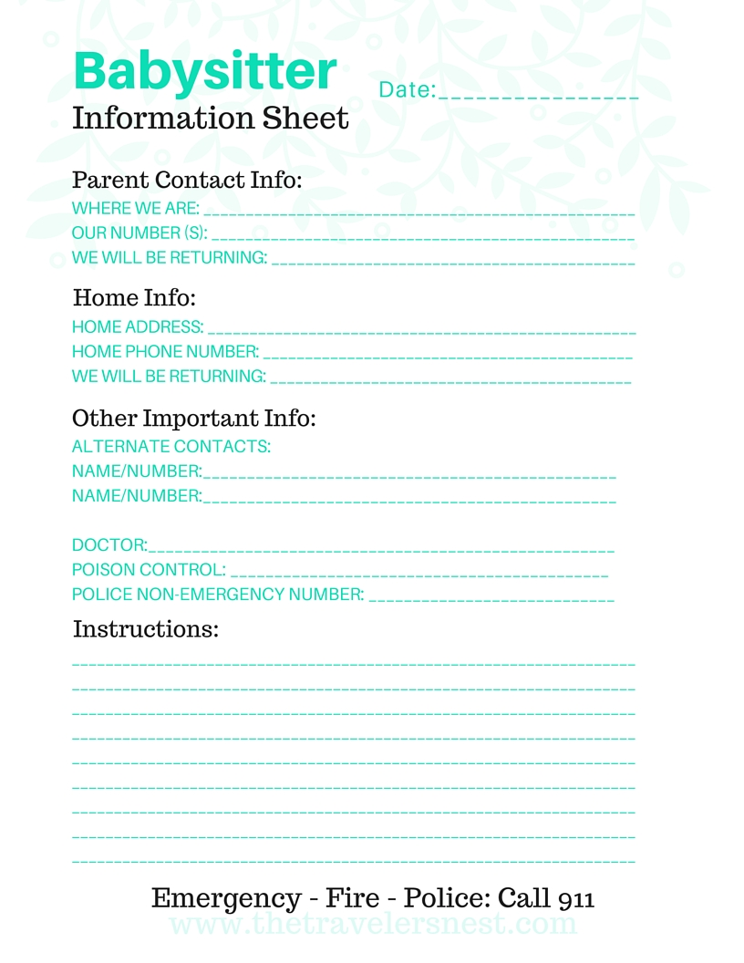 graphic about Babysitter Information Sheet Printable identified as material sheet Archives - The Visitors Nest
