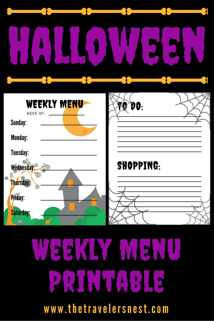 Halloween Weekly Menu Printable