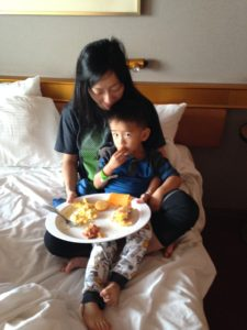 Enjoying room service in our stateroom