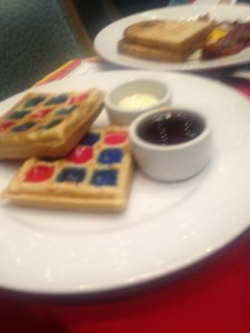 Multi-colored waffles at the Dr. Seuss Green Eggs and Ham breakfast
