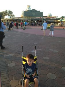 Tyler in stroller in front of Animal Kingdom