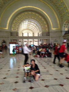 Tyler and Mom visiting Union Station in Washington DC
