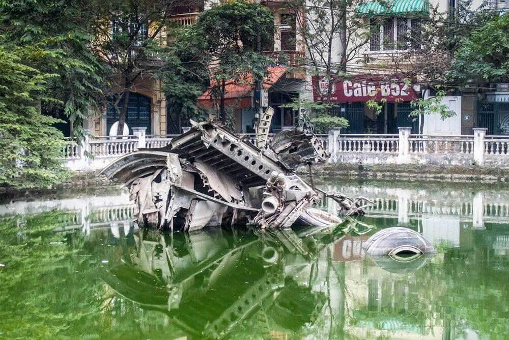 Hanoi, Vietnam: The Wrecked B52 Stratofortress Bomber of Huu Tiep Lake