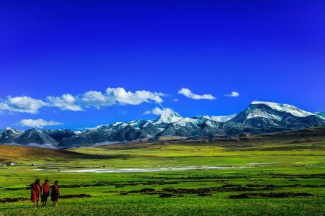 Tibetan Monks on the Grasslands of the Tibetan Plateau