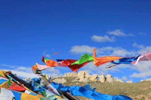 Prayer Flags on the Tibetan Plateau