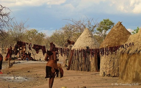 Himba village hanging meat to dry drying