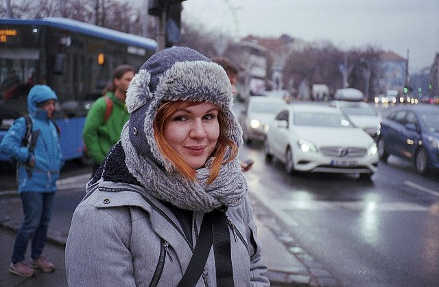 A woman dressed for winter in the city