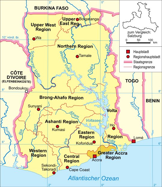 Ghana map of regions