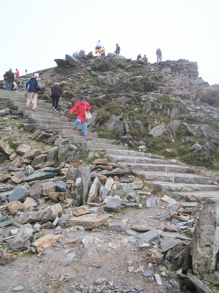 Steps up to the summit of Snowdon