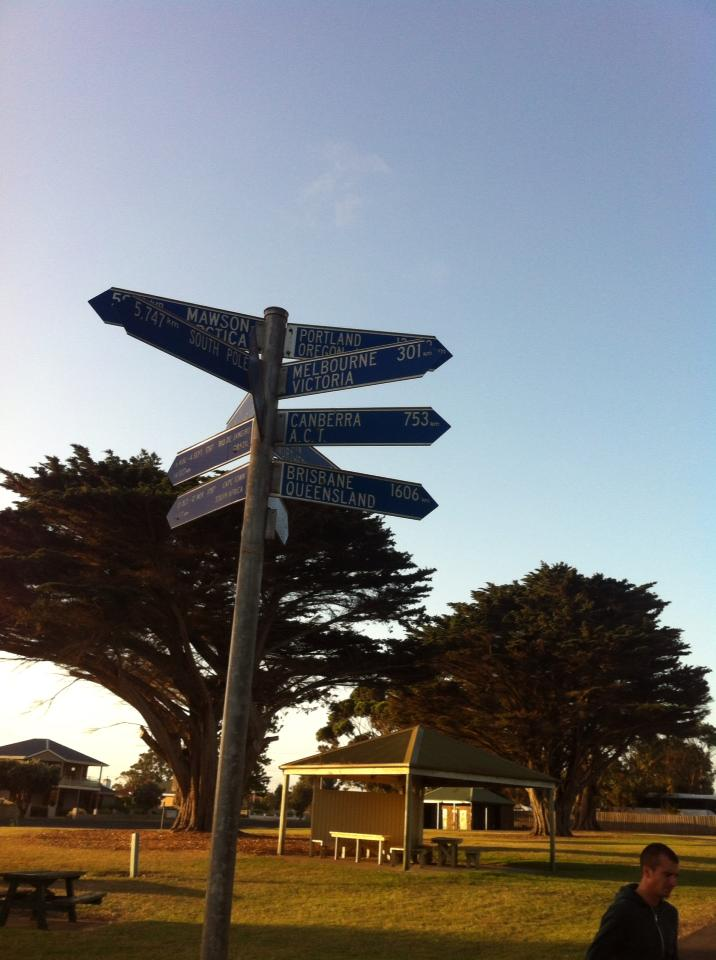 Signpost in Portland, Australia
