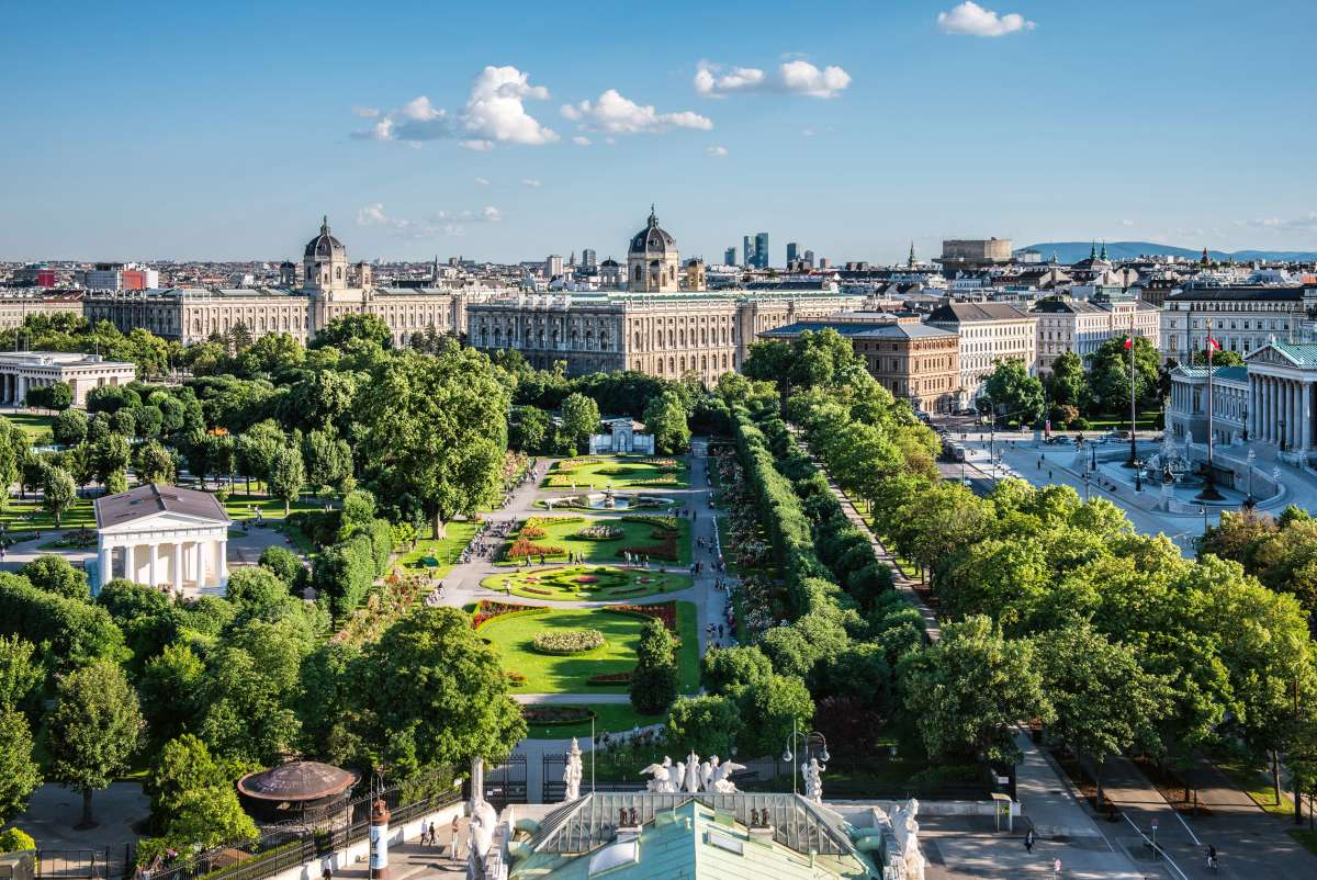 View of the Volksgarten, museums and Parliament