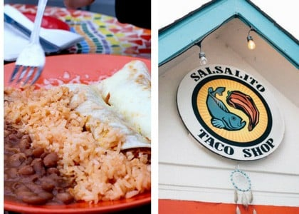 plate of enchiladas and salalito taco shop sign