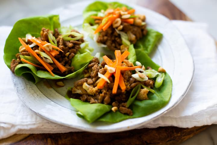 turkey and cauliflower asian lettuce wraps