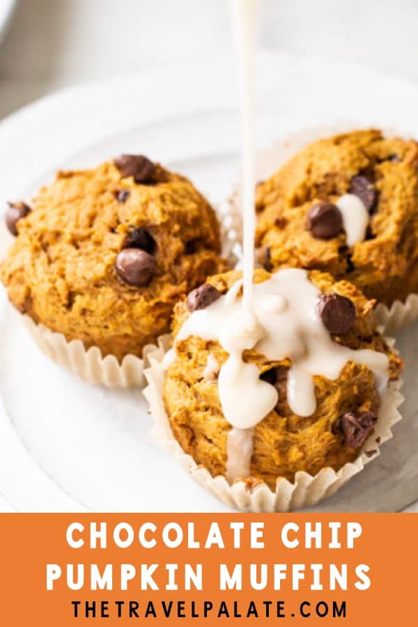 Pumpkin Chocolate Chip Muffins are moist and loaded with pumpkin flavor and studded with yummy chocolate chips! Great snack to have on hand during the holidays, or for a quick breakfast on the run or afternoon snack. Drizzle on some Maple Icing for an extra punch of fall flavor! #pumpkinmuffins #pumpkin #muffins #pumpkinchocolatechopmuffns