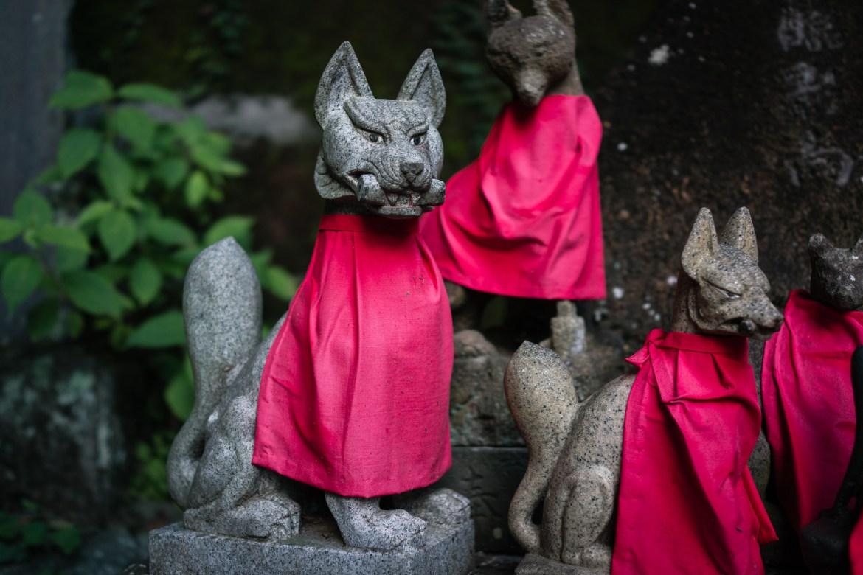 Kitsune Statues of Yakuo-in Temple on Mt. Takao