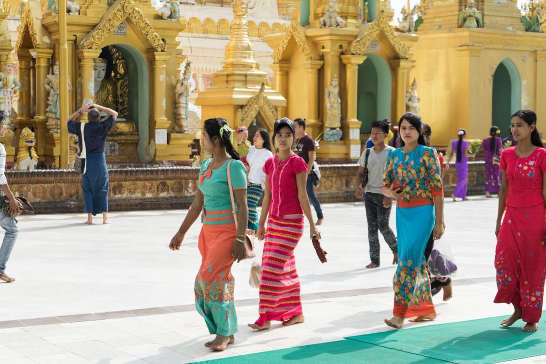 Myanmar Women at Shwedagon Pagoda