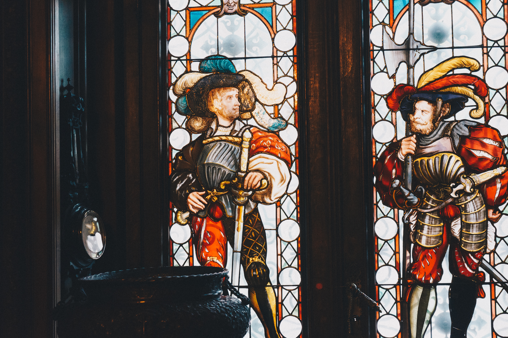 Stained Glass Art in Peles Castle in Sinaia, Romania