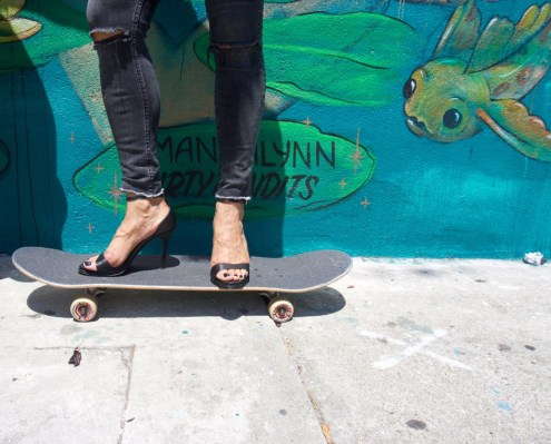 skate board and heels