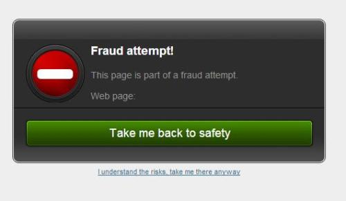 Bitdefender blocks the fraudulent web page