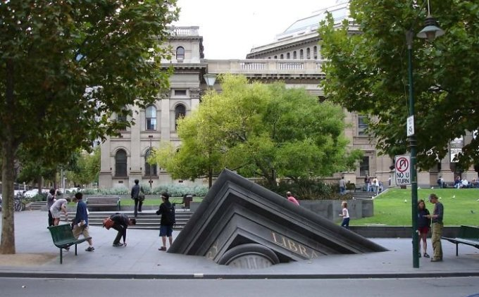 Sinking Building Outside State Library, Melbourne, Vic, Australia.