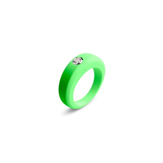 Anarchik_Inel Verde Fluorescent si Diamant 0.10 carate - 1389 lei