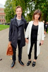 LONDON, ENGLAND - SEPTEMBER 21: Benedict Cumberbatch (L) and Sophie Hunter arrive at Burberry Womenswear Spring/Summer 2016 show during London Fashion Week at Kensington Gardens on September 21, 2015 in London, England. (Photo by David M. Benett/Dave Benett/Getty Images for Burberry) *** Local Caption *** Benedict Cumberbatch;Sophie Hunter
