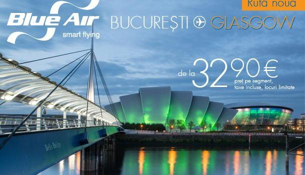 Blue Air a dus primii pasageri romani in Scotia