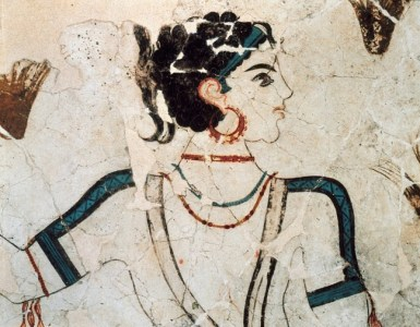 Akrotiri Archive. Detail from the Wall-painting of the Saffron Gatherers_rsz