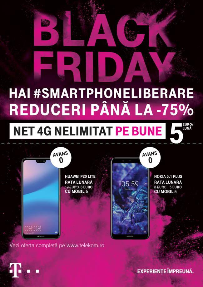 Black Friday la Telekom: reduceri de până la 75% la telefoane