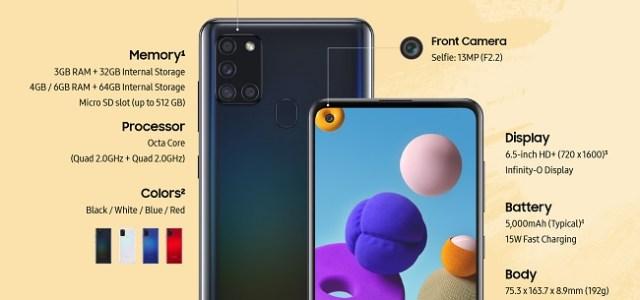 Samsung lansează Galaxy A21s, un nou model în familia Galaxy A
